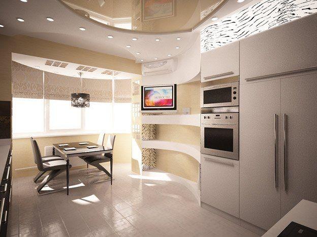 Кухня совмещенная с лоджией с обеденной зоной