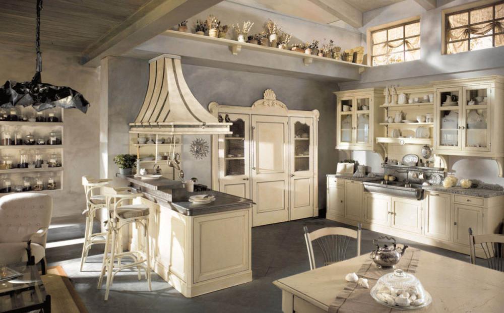светлая кухня в стиле кантри