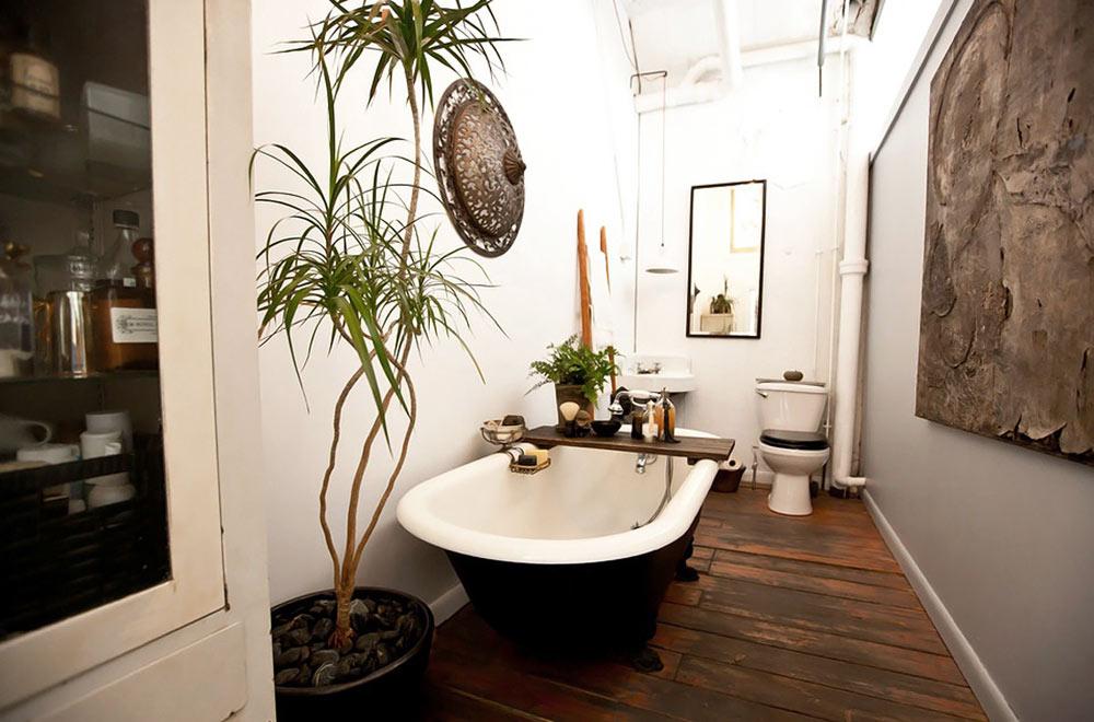 Ванная в стиле лофт с деревянной отделкой пола