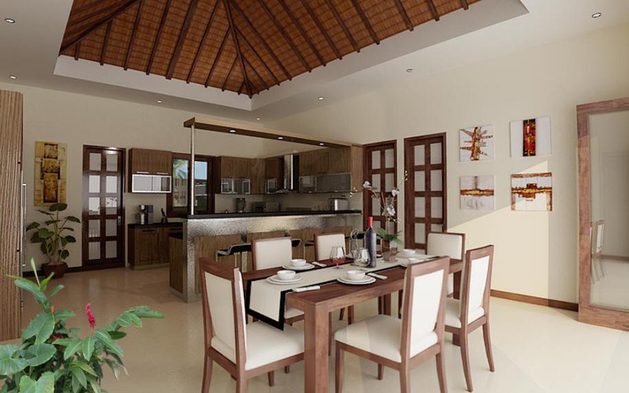 бежевая кухня совмещённая со столовой