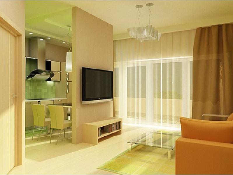 кухня-гостиная 30 кв. м. с телевизором
