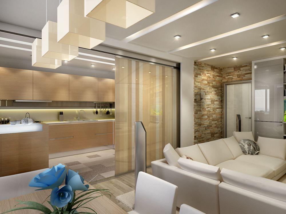 кухня-гостиная 30 кв. м. зонированная с помощью раздвижных дверей