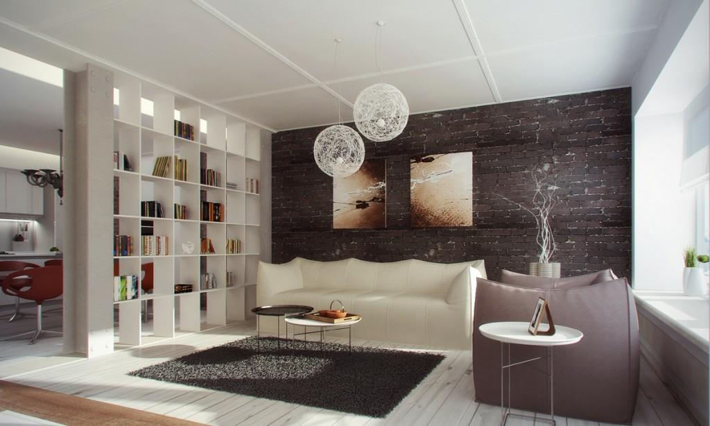 кухня-гостиная 30 кв.м с книжными полками