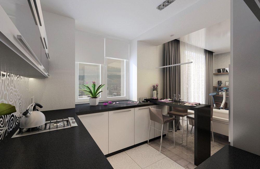 кухня гостиная 30 кв.м. с газовой плитой
