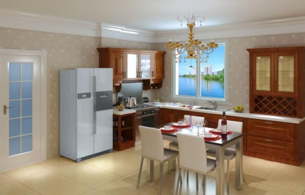 минималистичная кухня-столовая