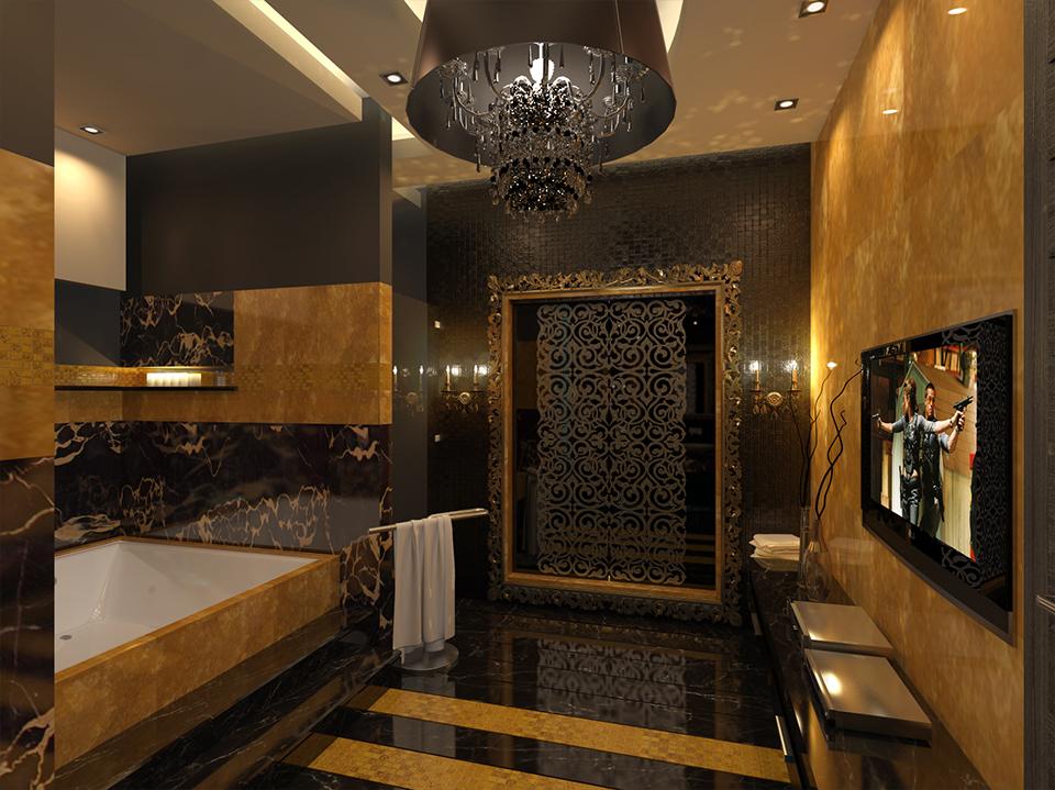 черно-коричневая ванная комната