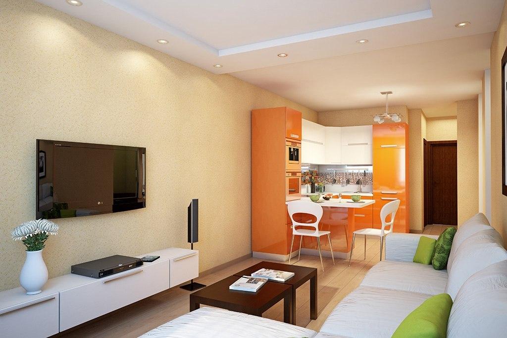 дизайн кухни гостиной 18 кв. м.