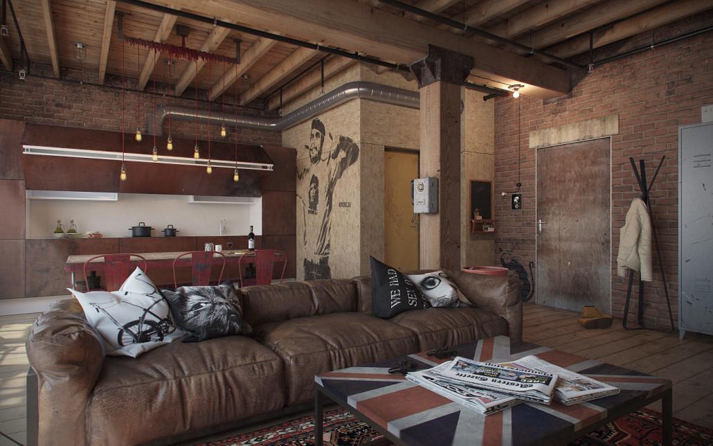 интерьер в стиле гранж с деревянными балками на потолке
