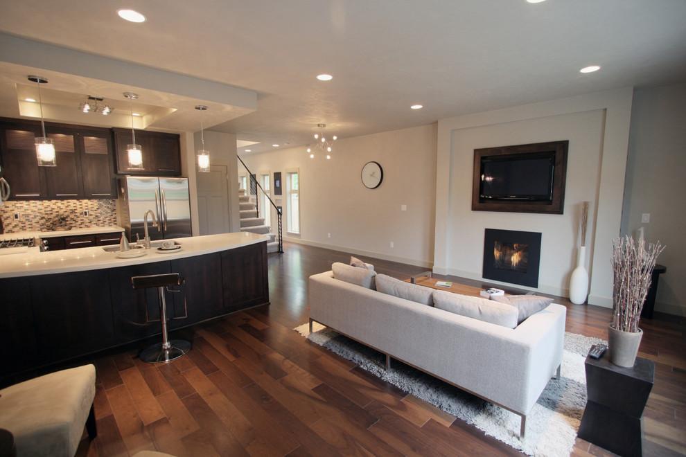 кухня-гостиная со встроенным в стену телевизором