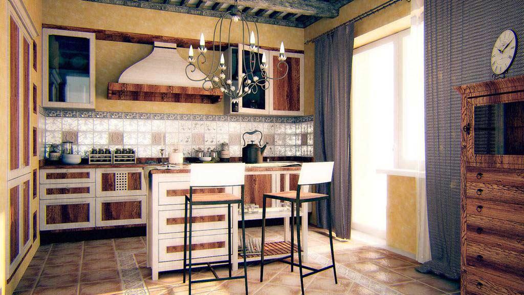 кухня в стиле гранж с винтажной люстрой