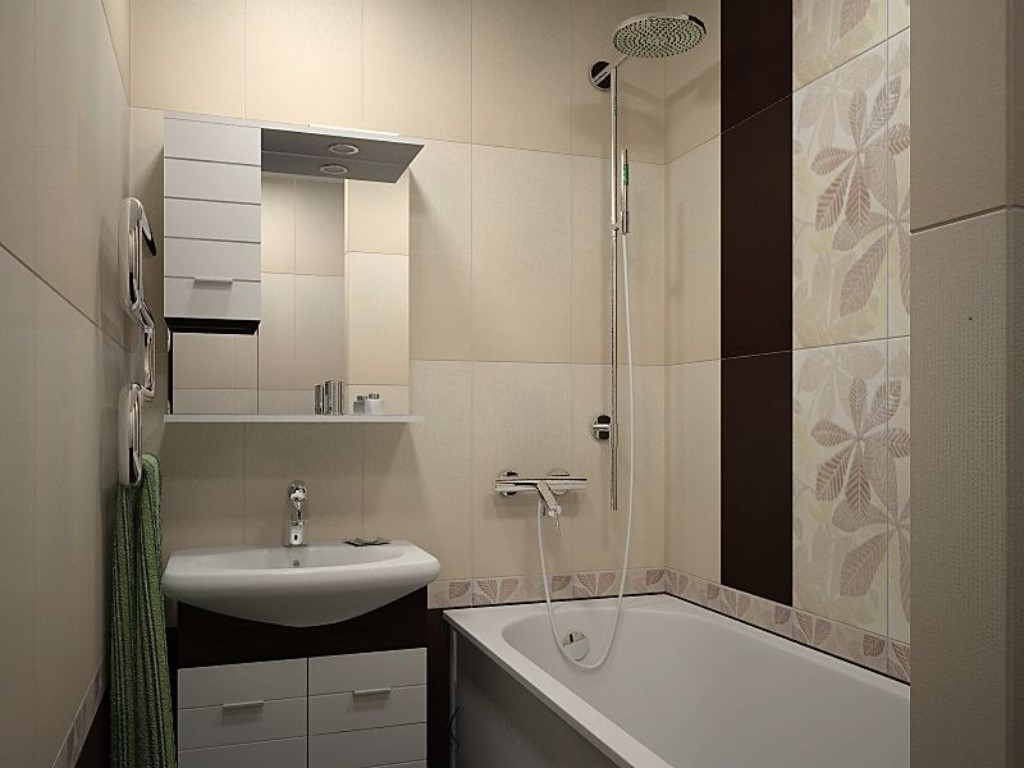 небольшая ванна с подвесным шкафчиком