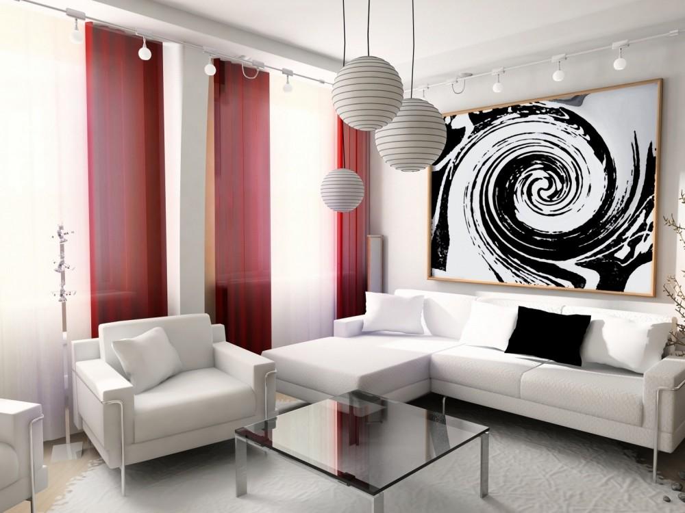 шторы для зала в стиле модерн