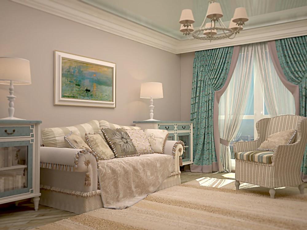 шторы для зала в стиле прованс