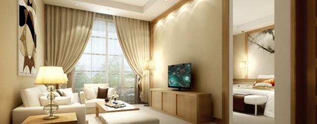 спальня-гостиная с настенным освещением