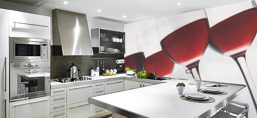 яркие фотообои для кухни
