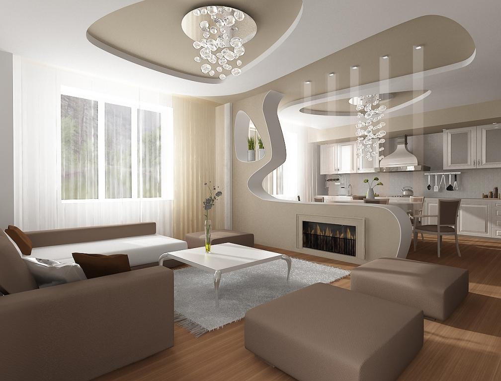 зонирование кухни и гостиной с помощью фигурной перегородки