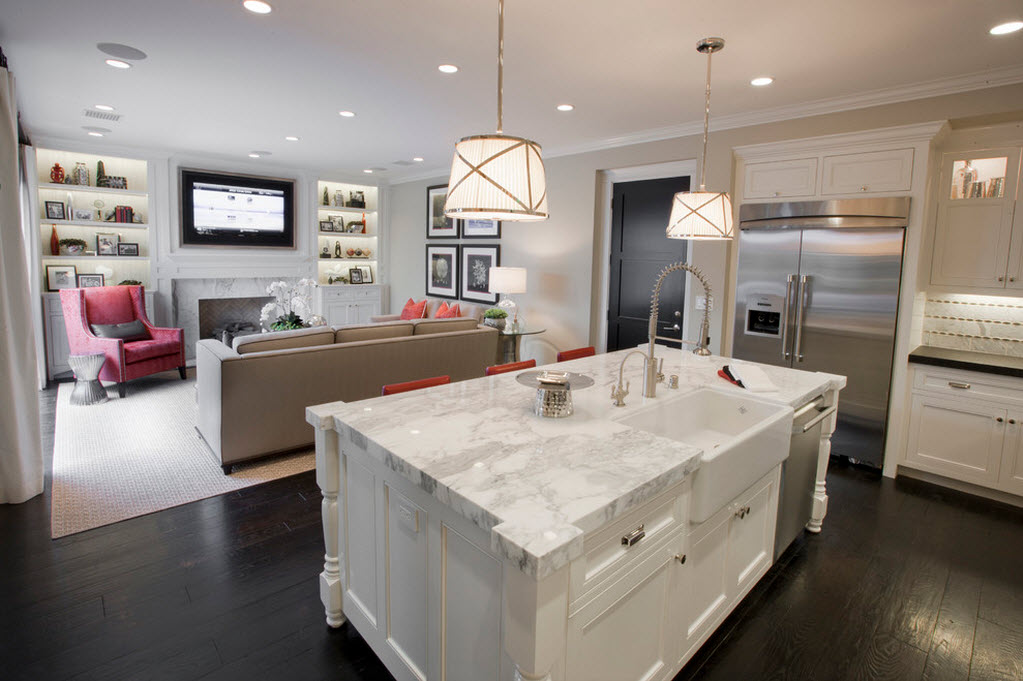 зонирование кухни и гостиной с помощью освещения