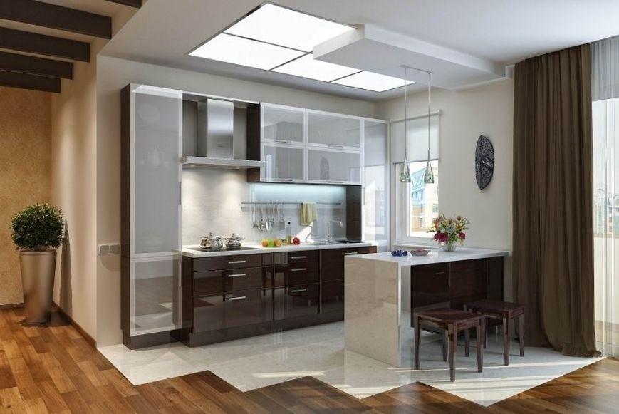 зонирование кухни-студии с помощью плитки