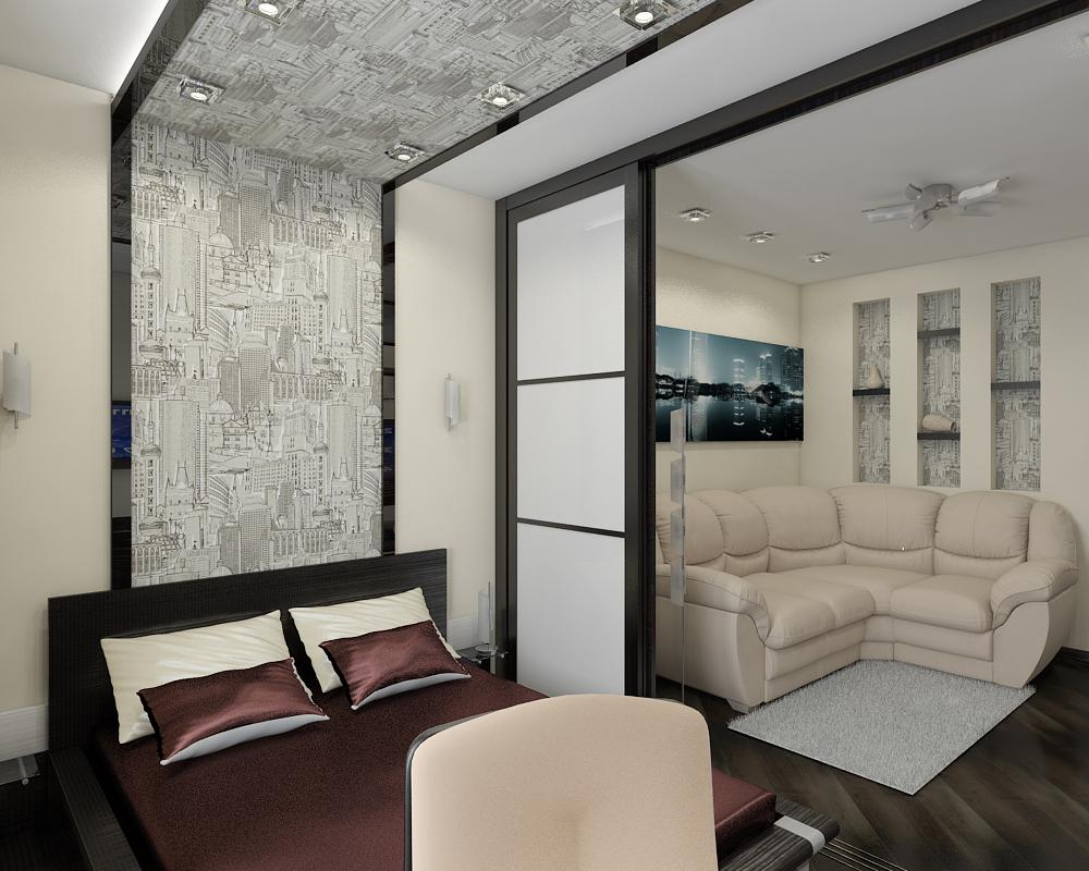зонирование спальни и гостиной с помощью раздвижных дверей
