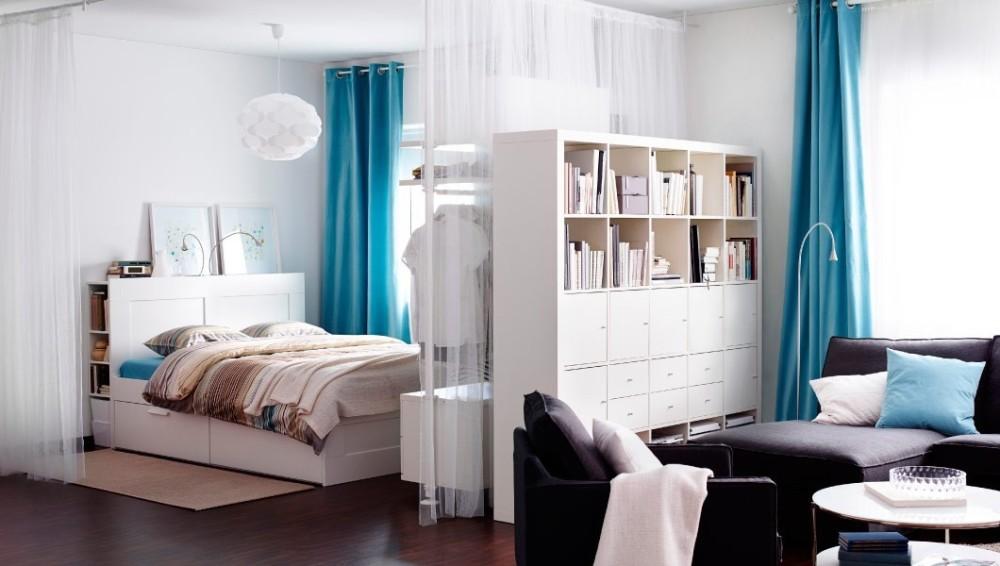 зонирование спальни и гостиной с помощью шкафа