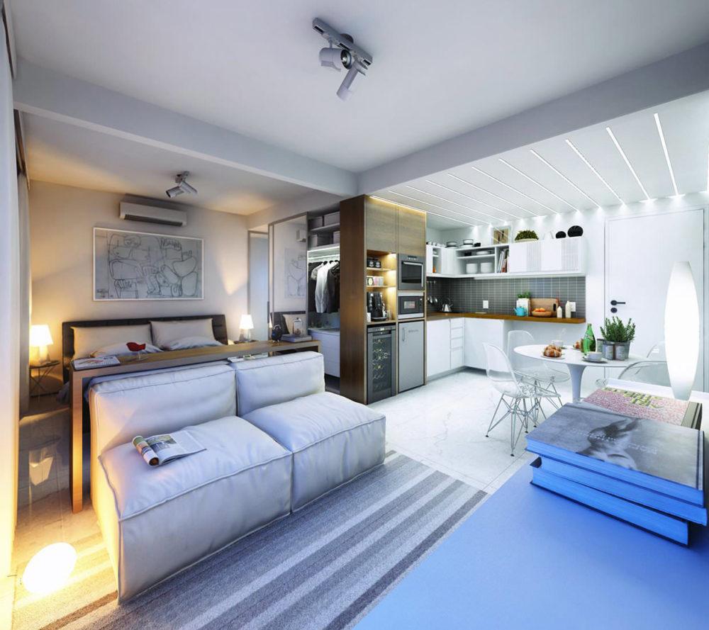 дизайн квартиры студии 30 кв. м.