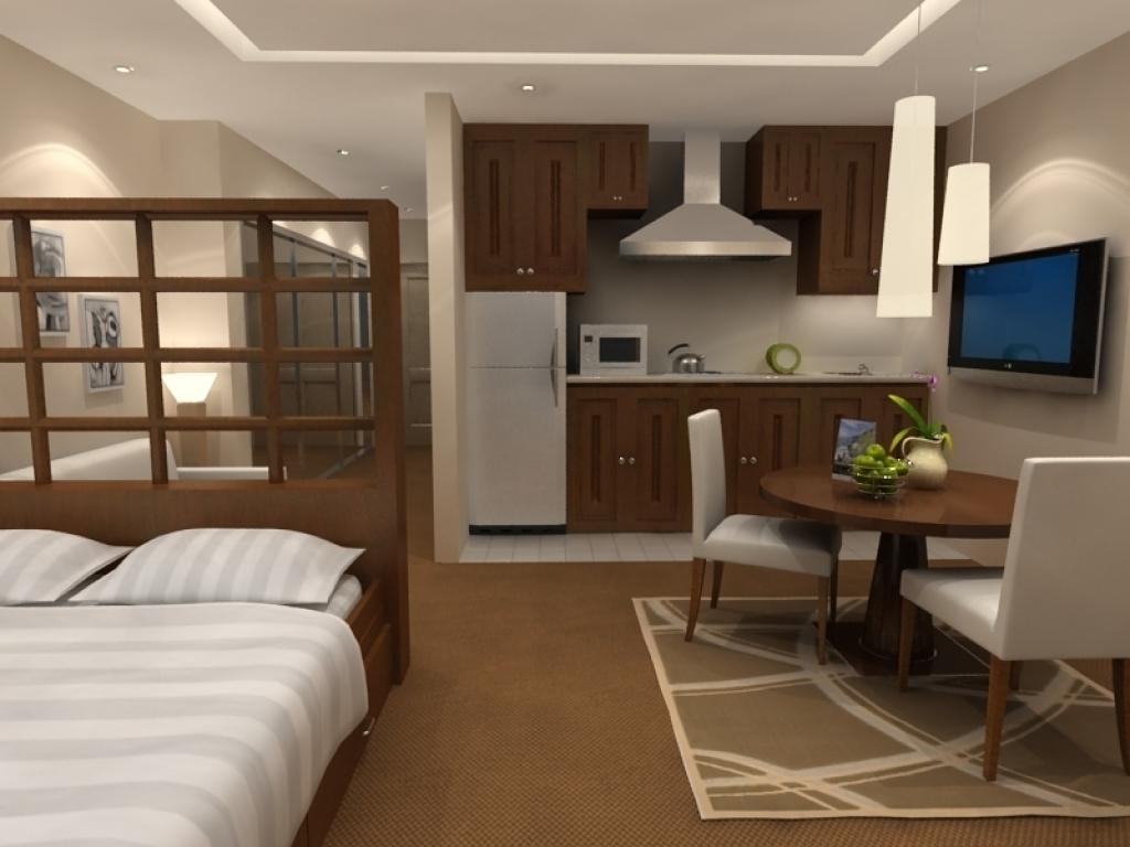 дизайн однокомнатной квартиры 30 кв. м. с разноуровневым освещением