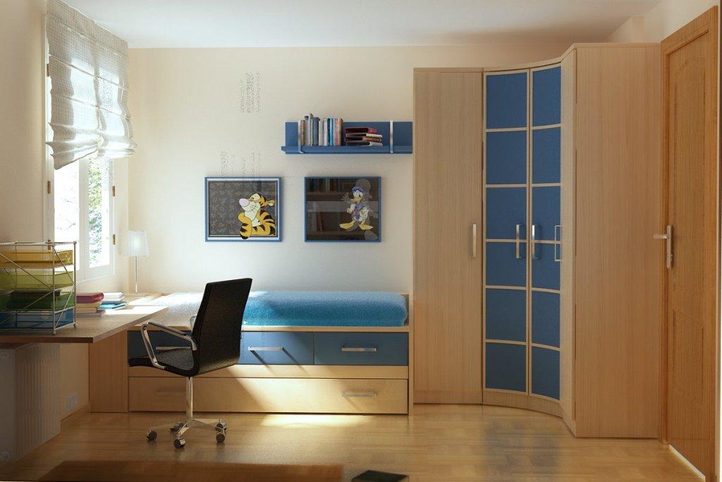 интерьер комнаты для подростка с рабочей зоной