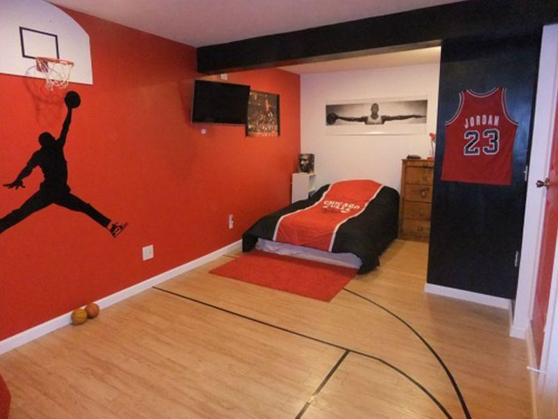 интерьер комнаты подростка с баскетбольной корзиной