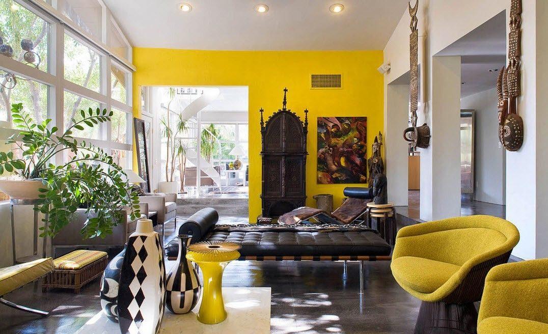 интерьер в африканском стиле в желтых тонах