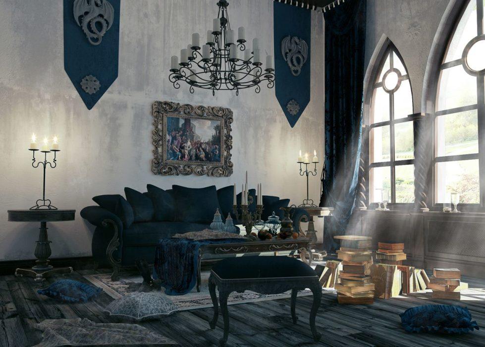 интерьер в готическом стиле с большими окнами