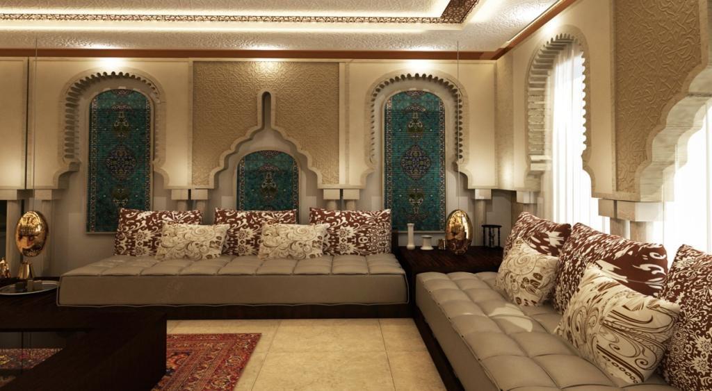 интерьер в марокканском стиле с низкой мебелью
