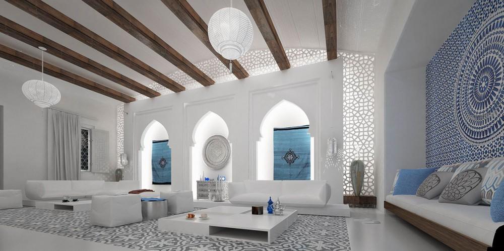 интерьер в марокканском стиле с узорами