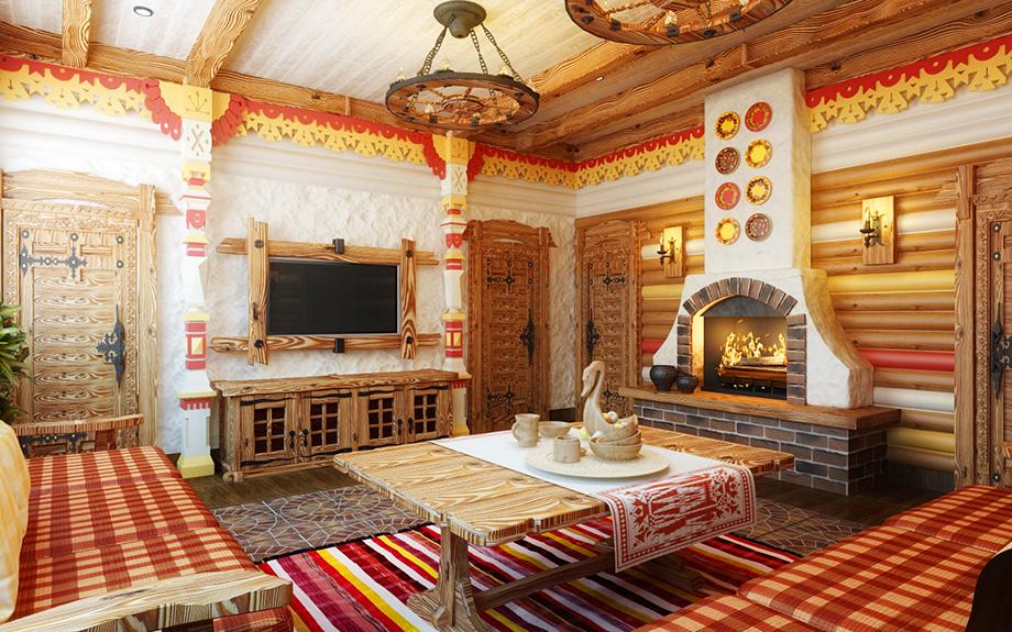 интерьер в русском стиле с печью