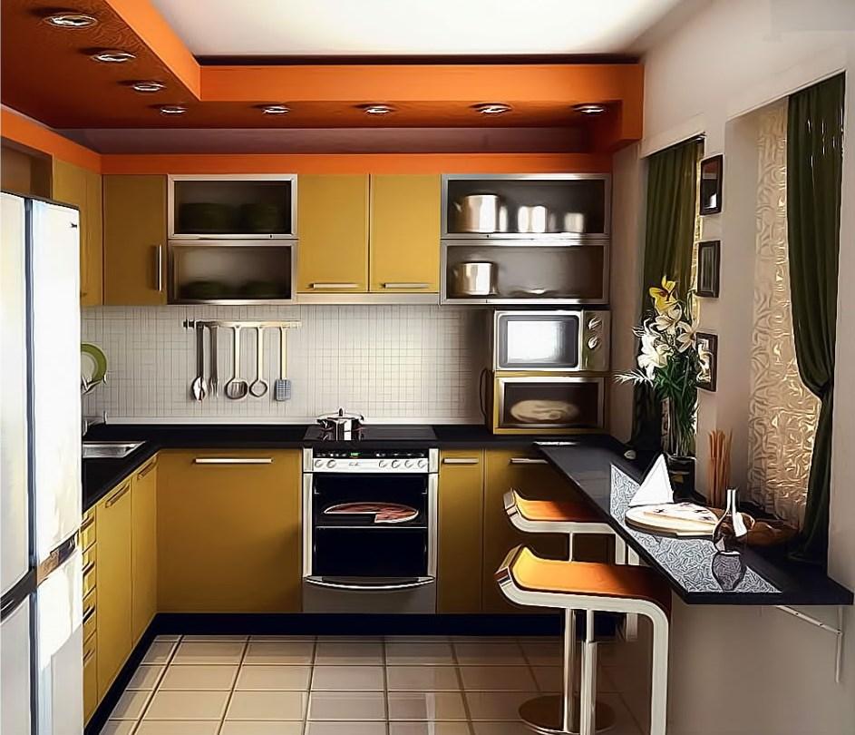 кухня 6 кв. м. с кафельной плиткой