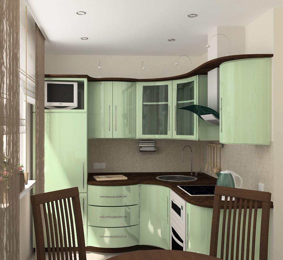 кухня 6 кв. м. с угловой мойкой
