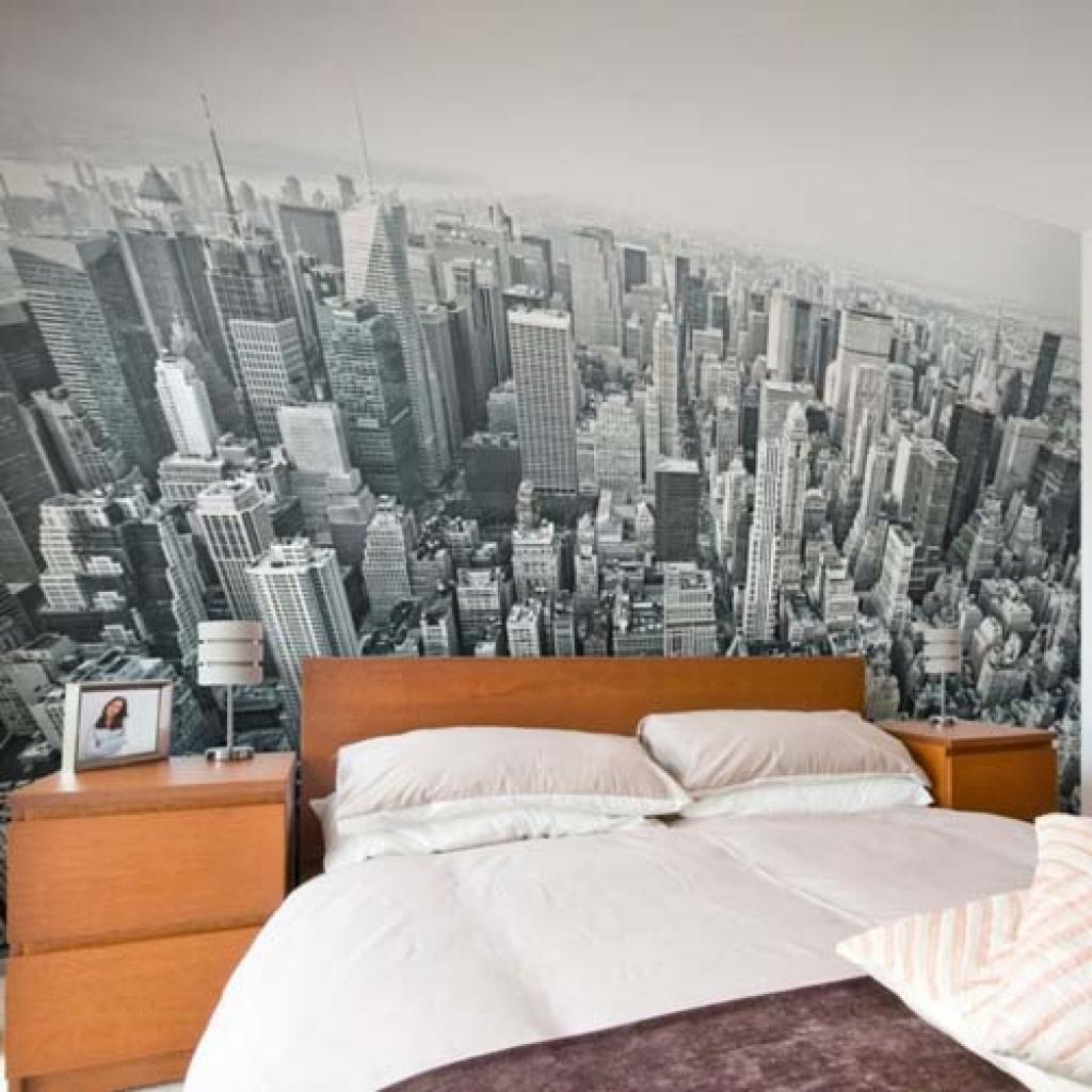 панорамные обои в спальне 12 кв. м.