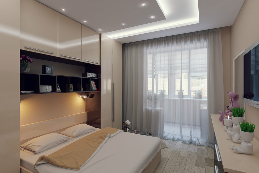дизайн потолка в спальной комнате фото