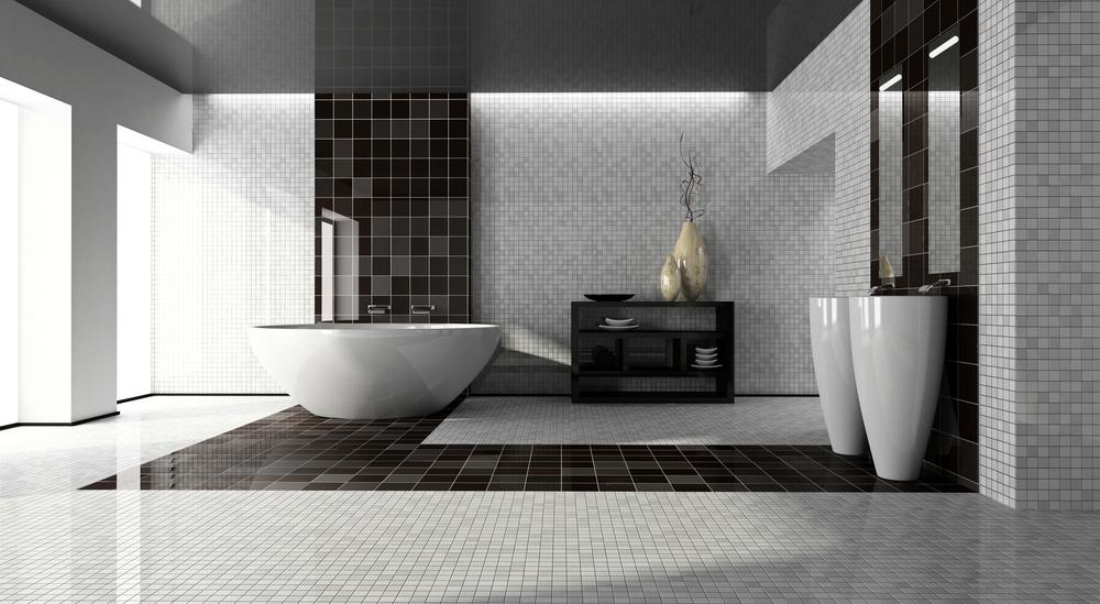 ванная оформленная керамической плиткой