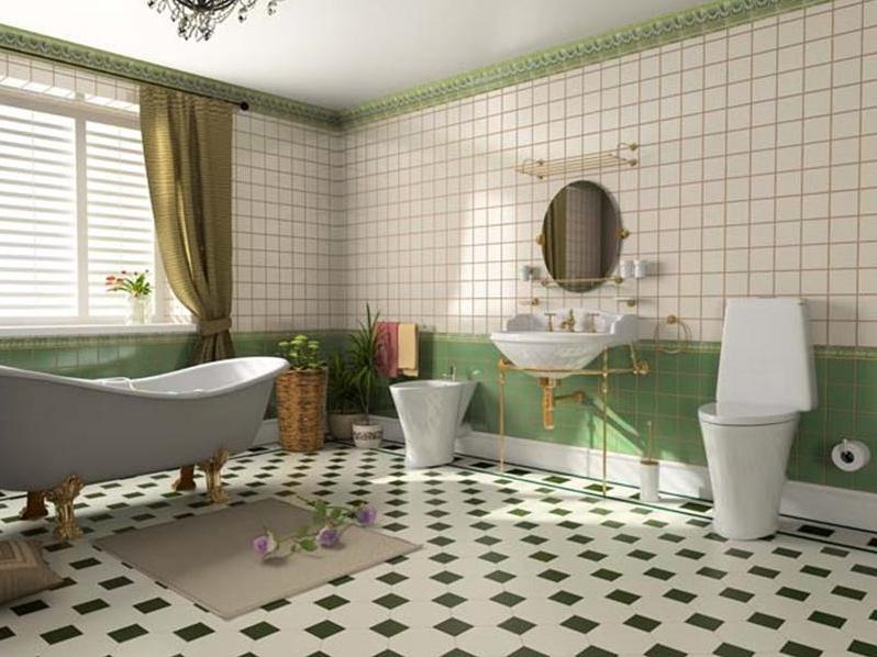 ванная с шахматной плиткой