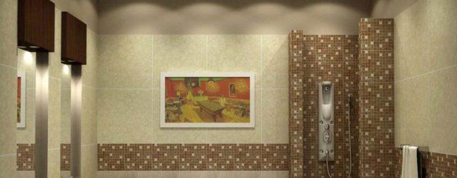 ванная со встроенным в потолок освещением