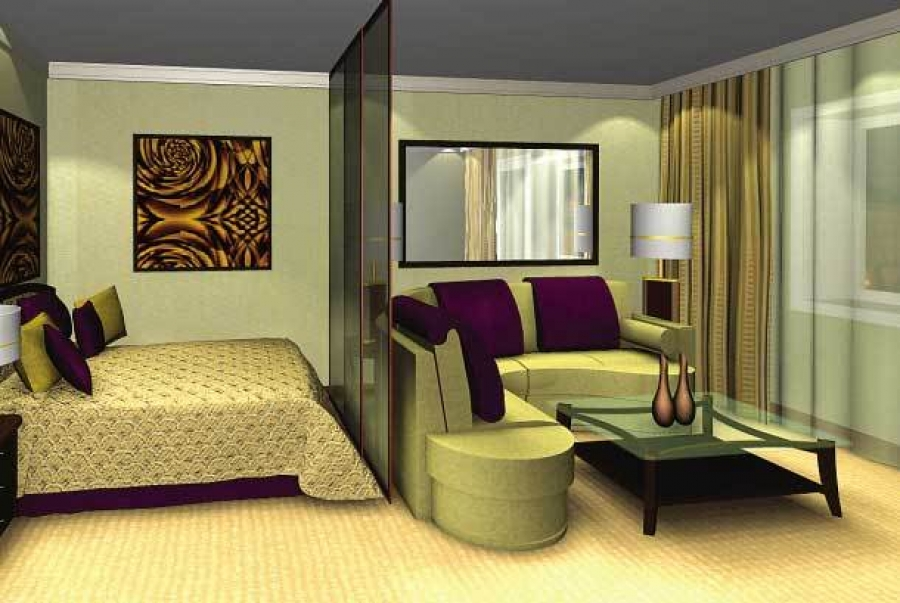 зонирование спальни и гостиной с помощью прозрачной ширмы