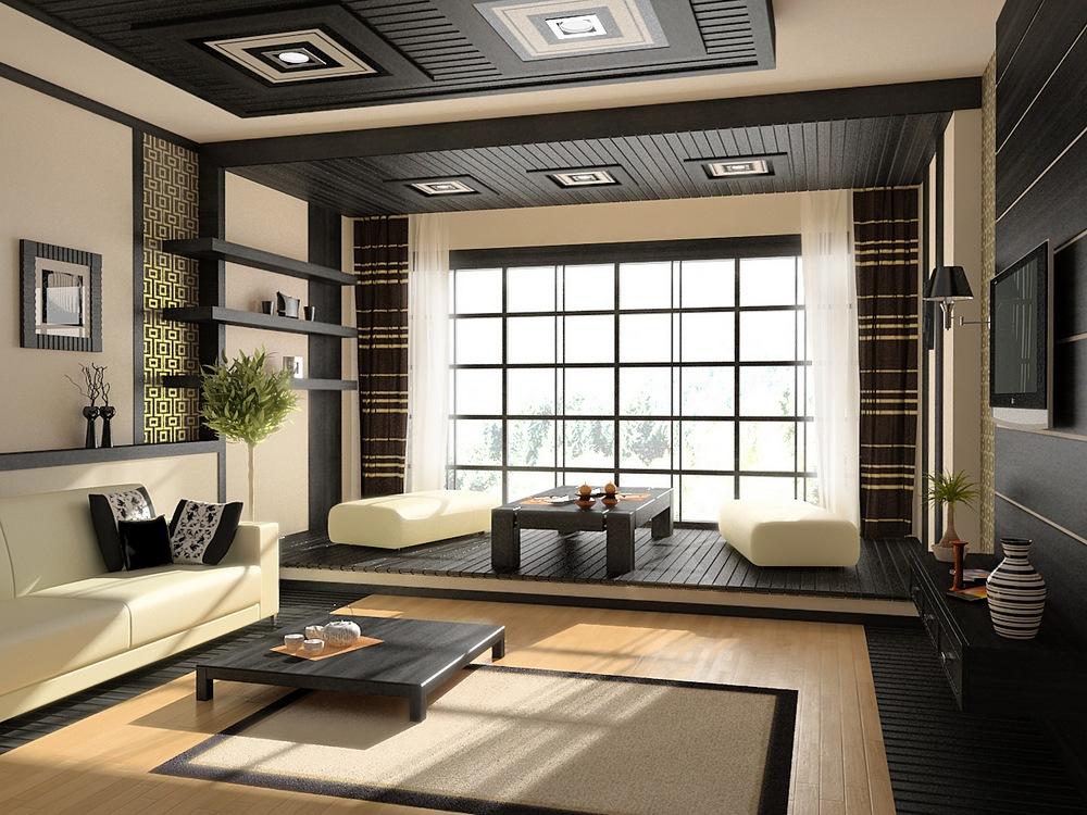 Черная комната в японском стиле