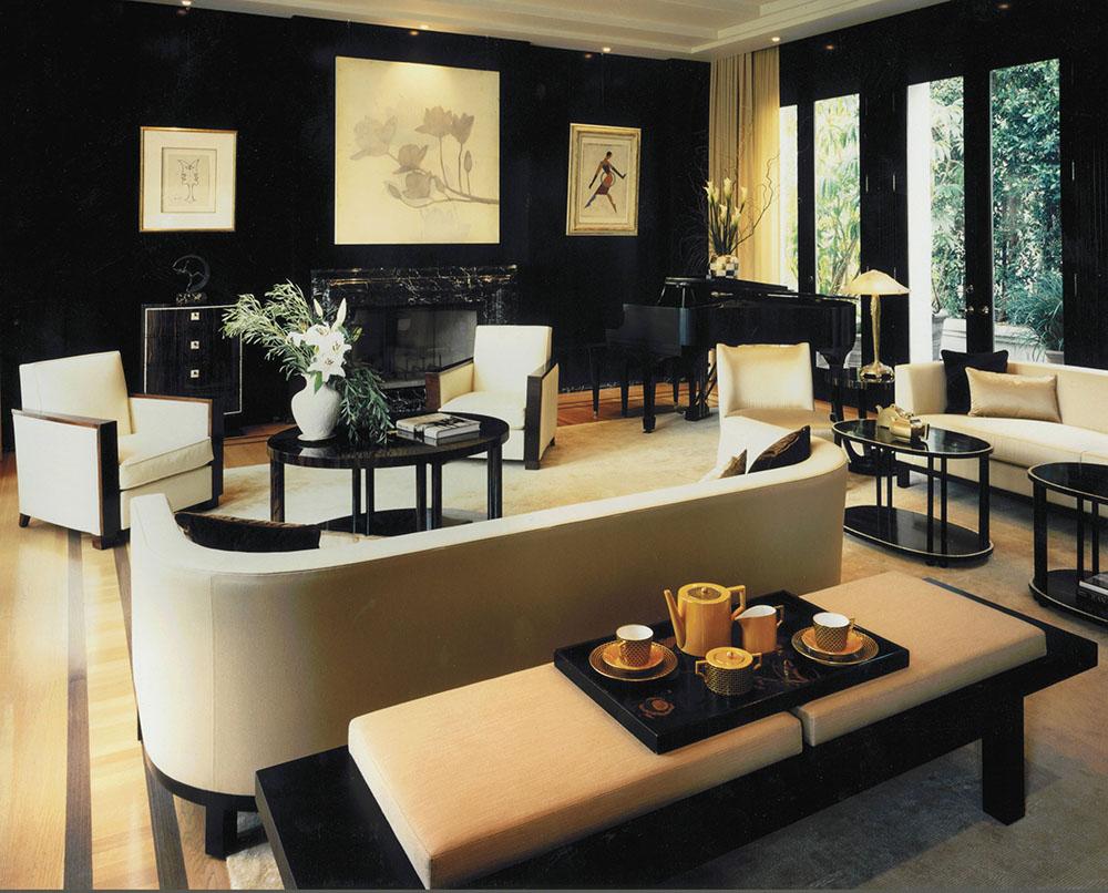 Белая мебель в арт-деко комнате