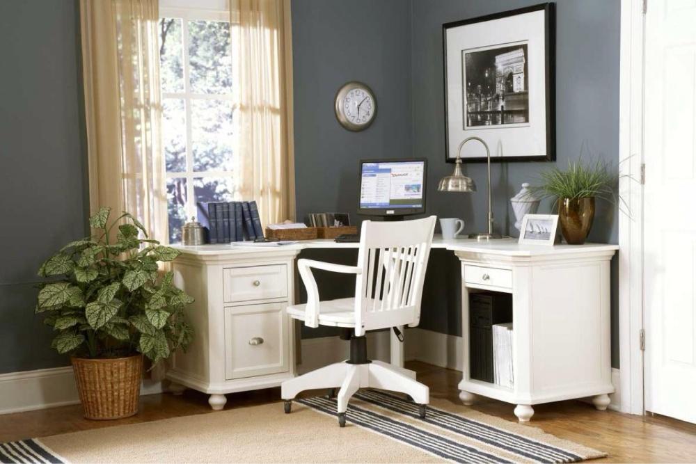 Домашний кабинет в классическом стиле с декоративными растениями