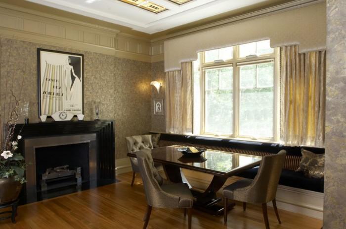 Гостиная в стиле арт-деко с камином