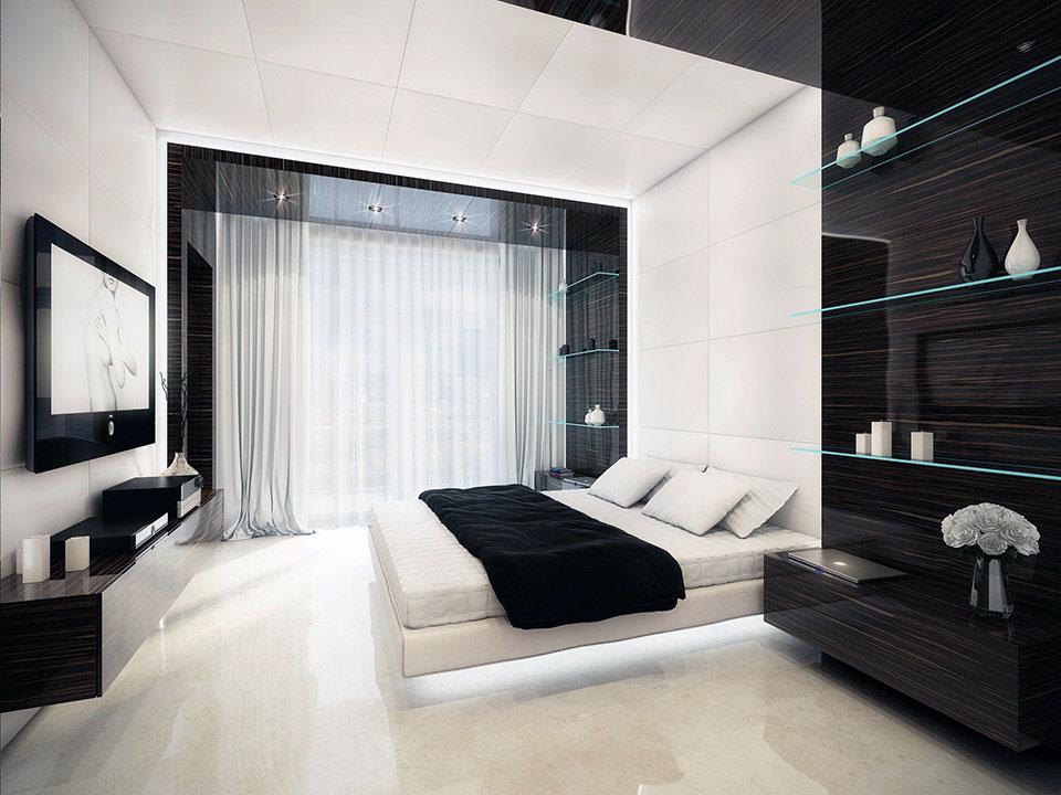 Спальня в черно-белых цветах