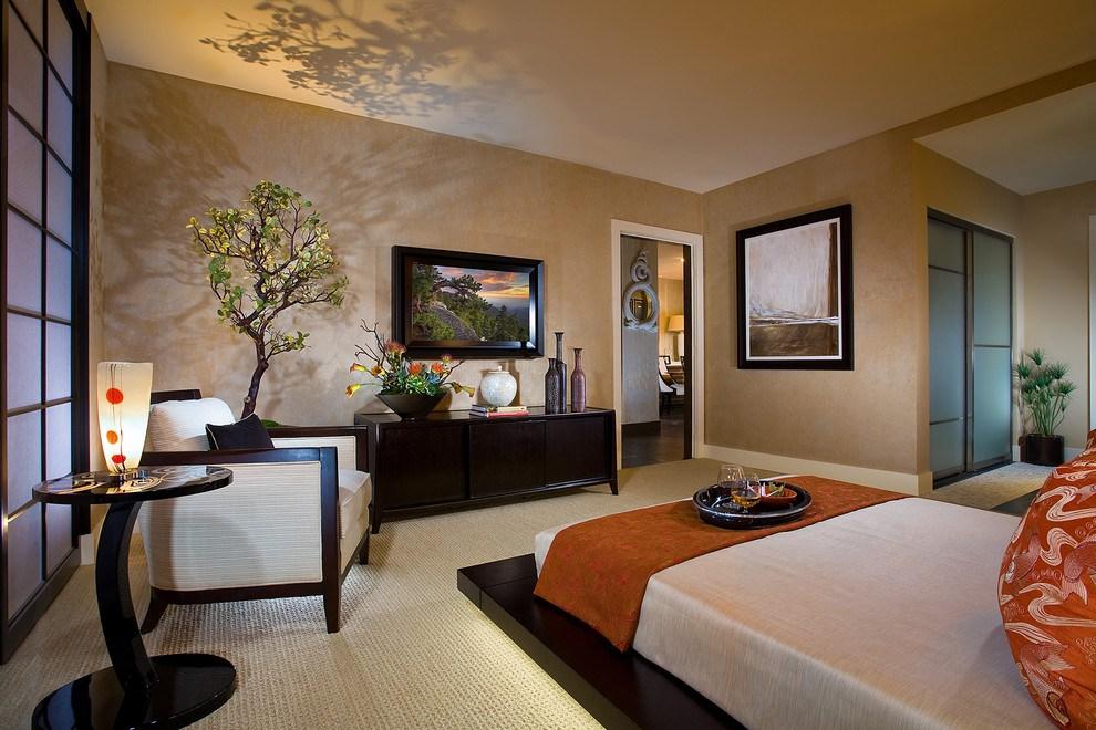 Спальня в японском стиле с деревом Бонсай