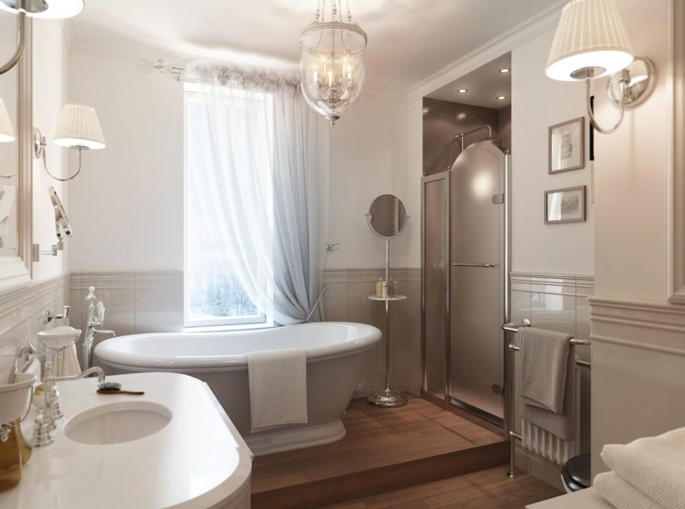 Ванна совмещенная с туалетом в классическом стиле