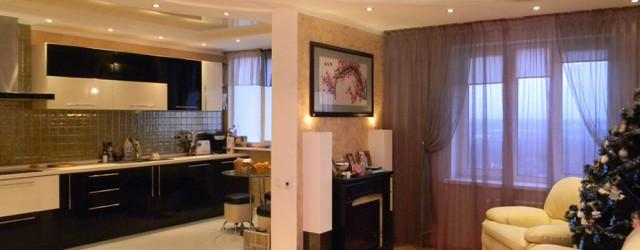 кухня-гостиная 30 кв. м. черно-белого цвета