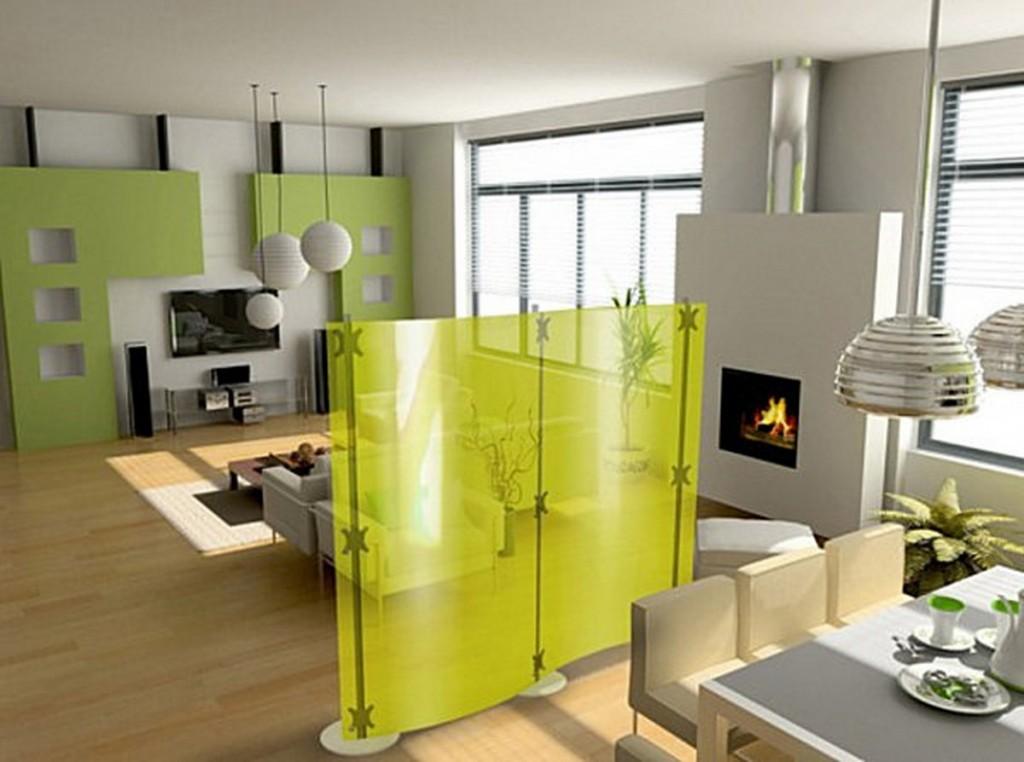 зонирование кухни-гостиной с помощью яркой ширмы